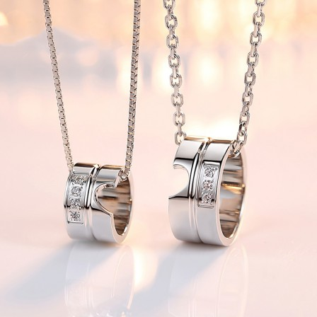 Personality Creative Circle Lovers Pendants Couple Necklaces