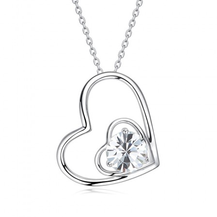 925 Silver Rhinestone Ladies' Necklace With Chain Romantic