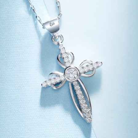 925 Silver Stylish Rhinestone Ladies' Necklace With Chain