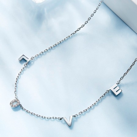 925 Silver Rhinestone Ladies' Trendy Necklace With Chain