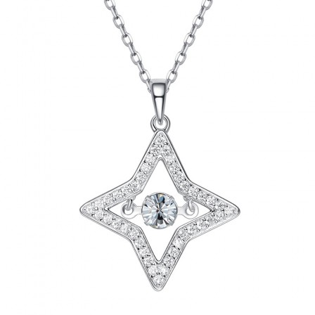 Chic 925 Silver Rhinestone Ladies' Necklace With Chain