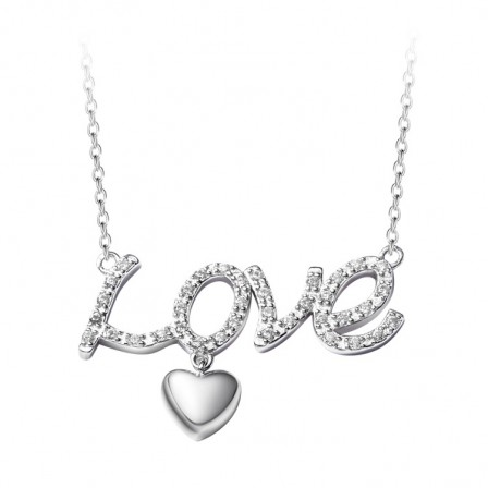 Silver Rhinestone Romantic Ladies' Necklace With Chain