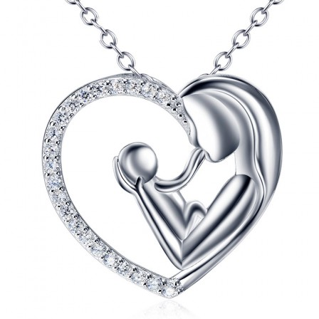 Silver 3A Zircon Valentine'S Day Present Ladies' Necklace With Chain