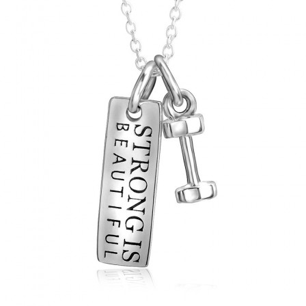 Silver Fitness Necklaces Dumbbells Ladies' Necklace With Chain