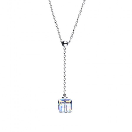 S925 Sterling Silver Aurora Cube Sugar Crystal Necklace Clavicle Chain
