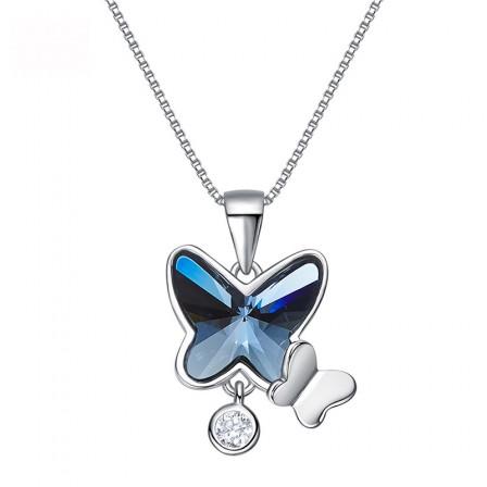 S925 Sterling Silver Swarovski Crystal Butterfly Necklace