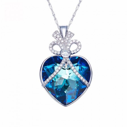 Fashion S925 Sterling Silver Blue Crystal Necklace