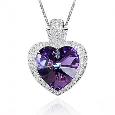 S925 Sterling Silver Purple Crystal Necklace