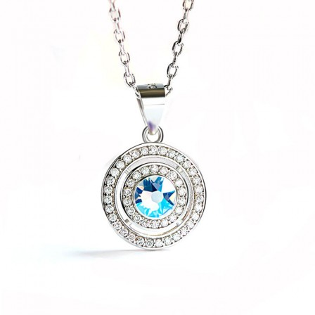 S925 Sterling Silver Necklaces With Austria Crystal Pendant