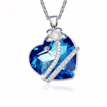 S925 Sterling Silver Necklace Fashion Crystal Blue Flowers