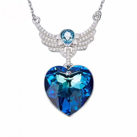 S925 Sterling Silver Blue Crystal Necklace