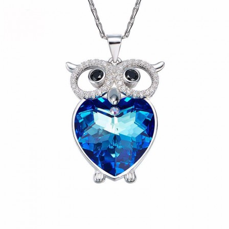 S925 Sterling Silver Owl Crystal Lady Necklace Pendant