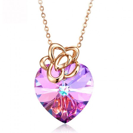 S925 Sterling Silver Amethyst Heart-Shaped Necklace