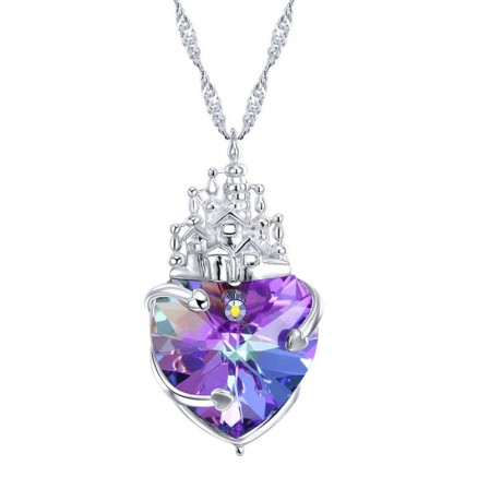 S925 Sterling Silver Necklace Heart Shaped Crystal Pendant
