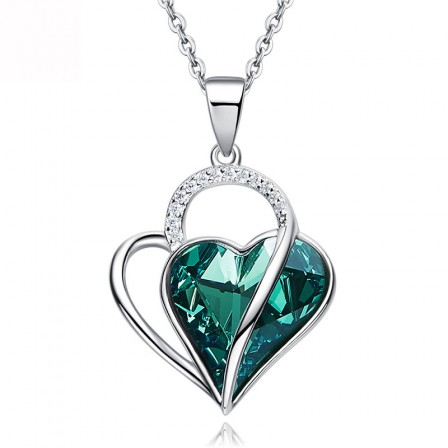 Elegant Heart-Shaped Christmas S925 Sterling Silver Necklace
