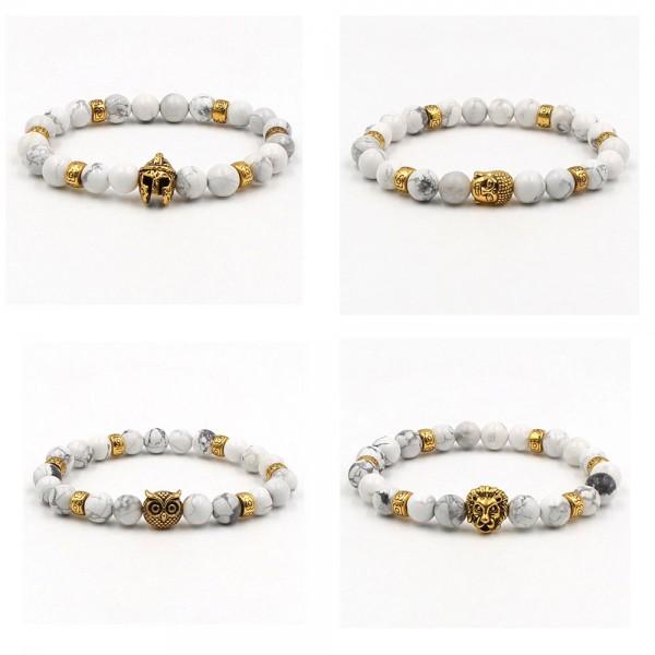 White Marble Gold Owl/Buddha/Helmet/Lion Bracelet