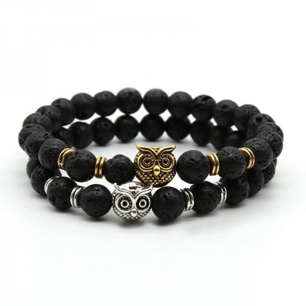 Black Lava With Sliver/Gold Owl Bracelet