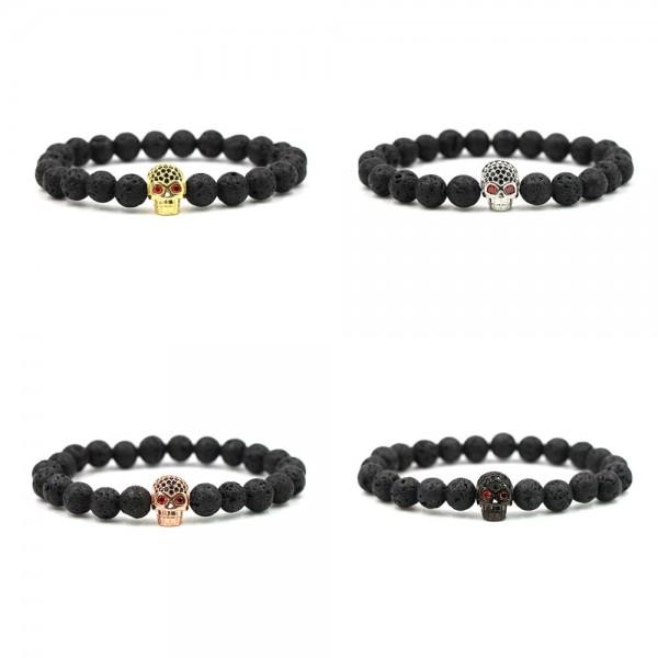 Lava Gold/Silver/Rose Gold/Black Skull Bracelet