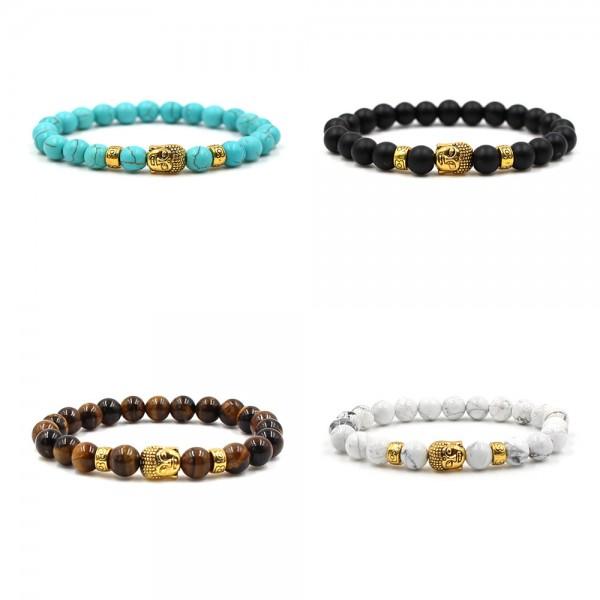Four Color Beads & Gold Buddha Bracelet