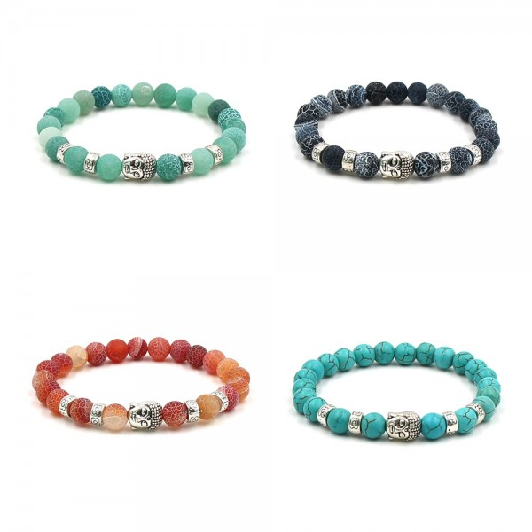 Natural Vein Stone With Silver Buddha Bracelet