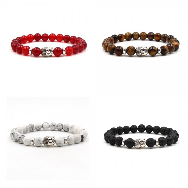 8mm Red/Brown/White Marble With Silver Buddha Bracelet