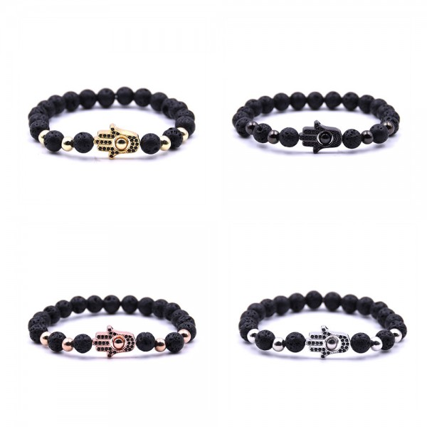 Black Lava Beads Hamsa Hand Bracelet