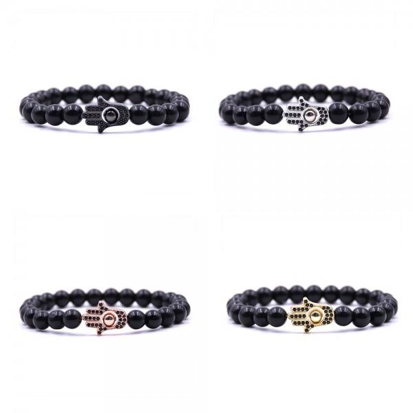 Natural Matte Black Hamsa Hand Bracelet