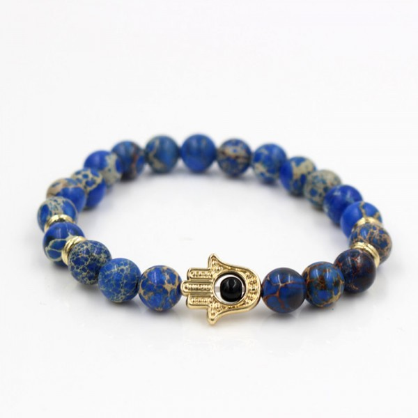 Natural Blue Vein Hamsa Hand Bracelet