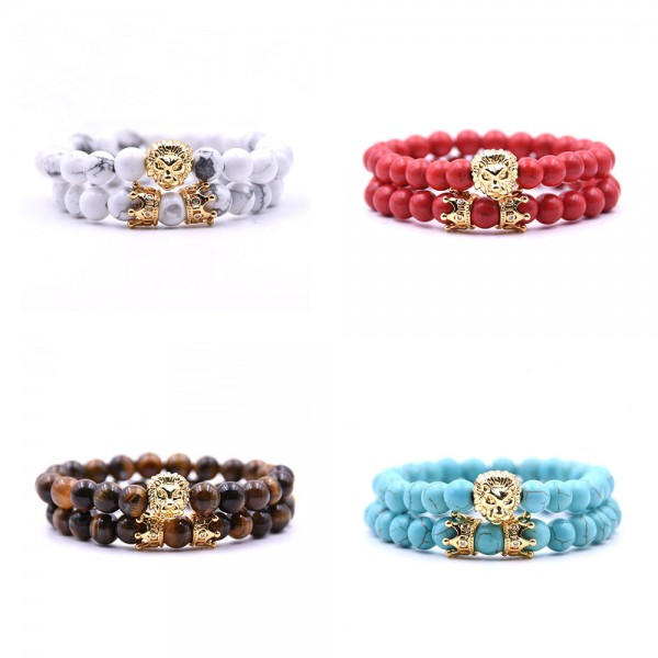 Natural Stone With Gold Lion Bracelet