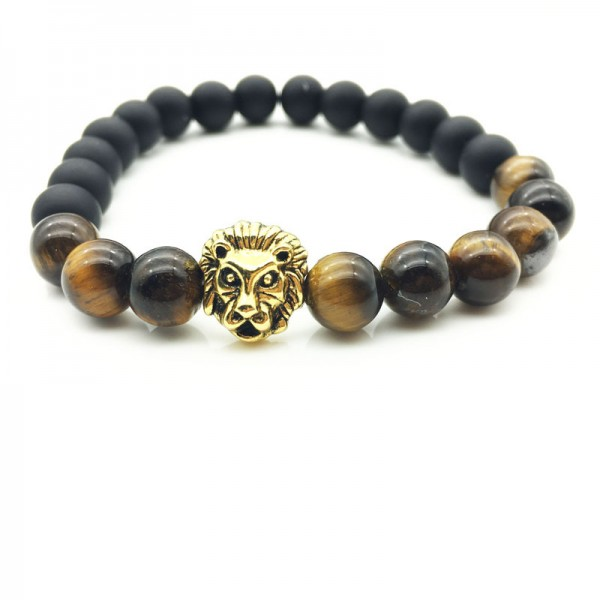Black Matte With Brown Beads Lion Bracelet