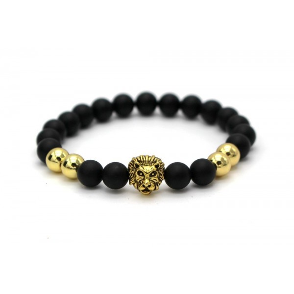 Black Matte With Gold/Silver Lion Bracelet