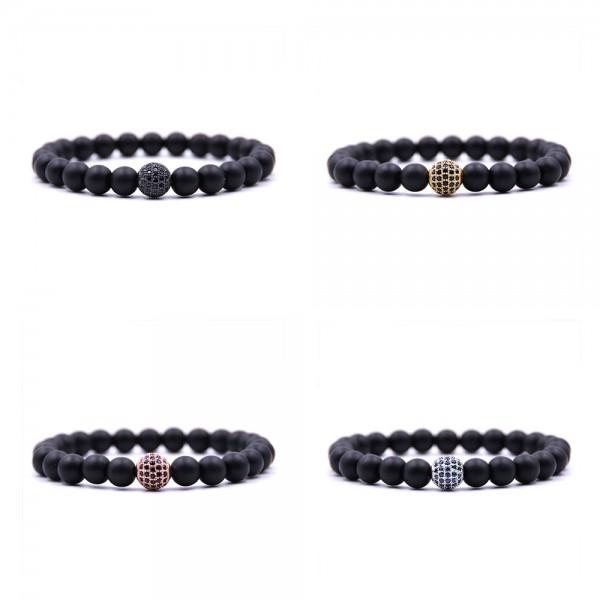 8mm Black Matte Elastic Beads Bracelet