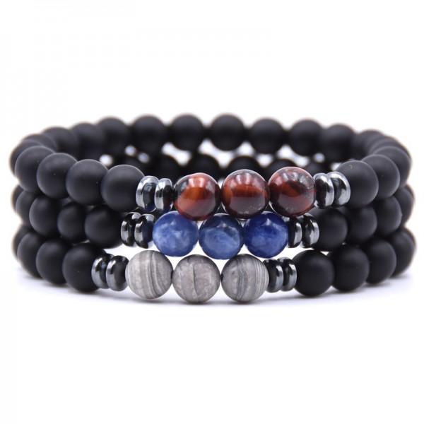Natural 8mm Black Matte Beads Bracelet