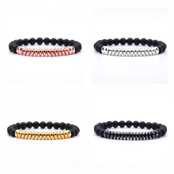 Black Matte Natural Beads Bracelet