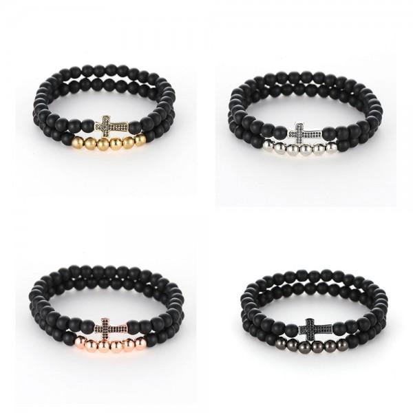 6mm Black Matte Natural Beads Cross Bracelet