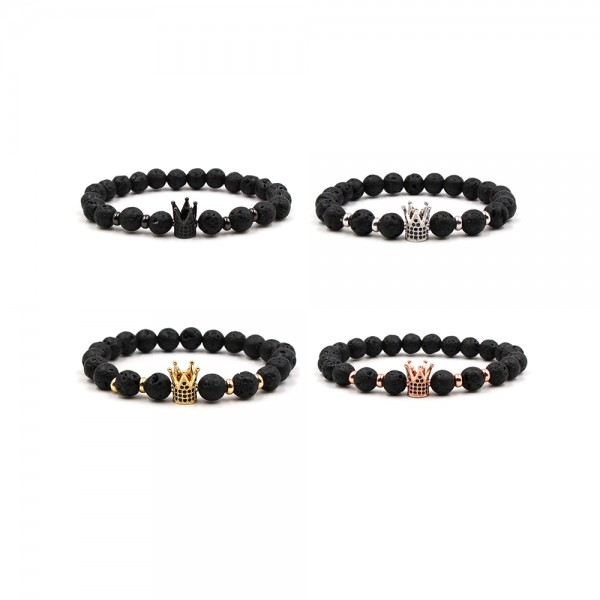 Black Volcanic Rocks Zircon Crown-Shaped Elastic Bracelet