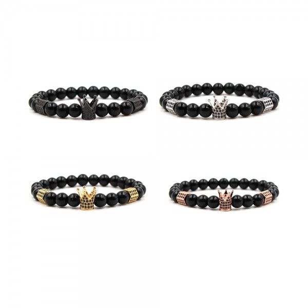 Black Frosted Stone Bright Crown-Shaped Elastic Bracelet