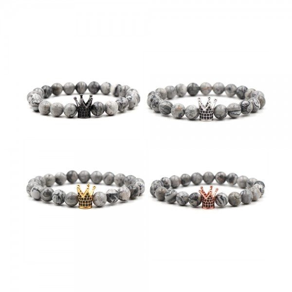 Natural Agate Zircon Cross-Shaped Elastic Bracelet