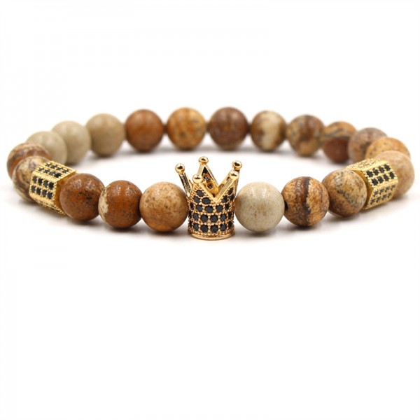 Graphic Agate Crown-Shaped Elastic Bracelet