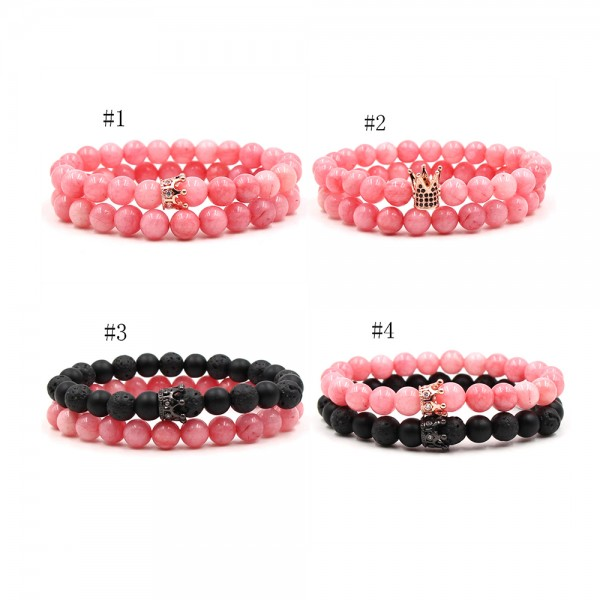 Black Volcanic Rocks Rose Crystal Crown-Shaped Lovers Couple Elastic Bracelets