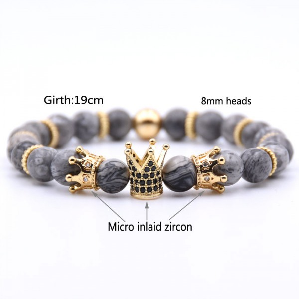 Three Crown Design  Map-Shaped RiverStones Zircon Elastic Bracelet