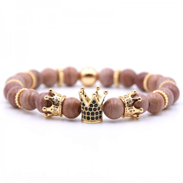 Three Crown Design Mud Line Stone Elastic Bracelet