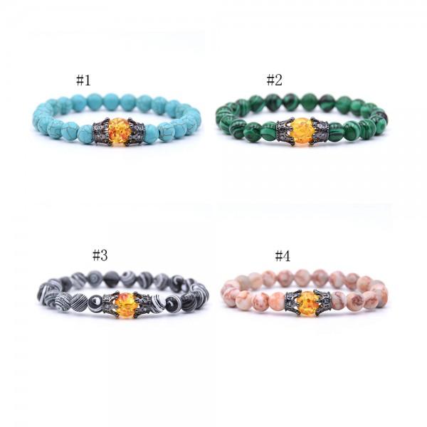 Natural Turquoise Crowm-Shaped Elastic Bracelet