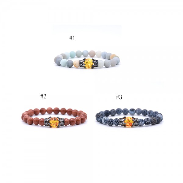 Amazon Frosted Stone Weathered Stone Crown-Shaped Elastic Bracelet