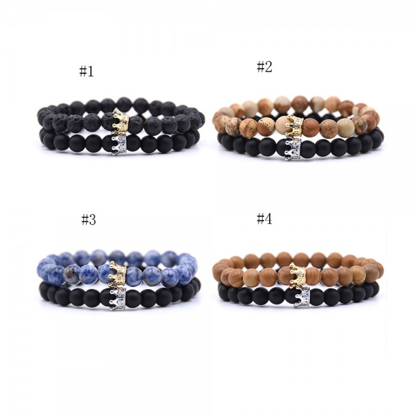 Volcanic Rocks Frosted Stone Crowm-Shaped Elastic Two Bracelets