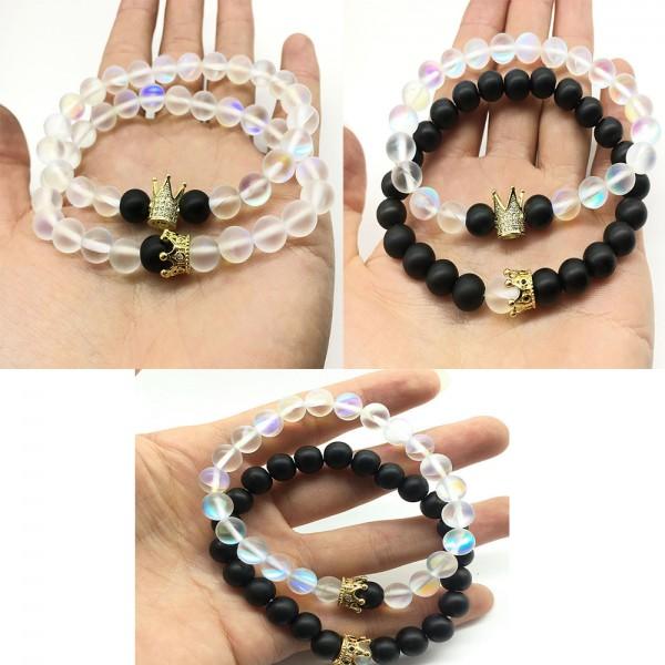 Natural MoonStone Crown-Shaped Lovers Elastic Two Bracelets