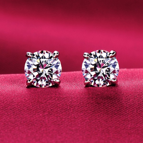 Sparkling Four Claw ESCVD Diamonds Fashionable Women Earrings