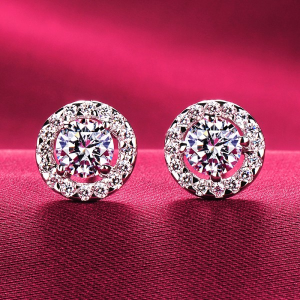 1.0 Carat Round Shape ESCVD Diamonds Fashionable Women Earrings
