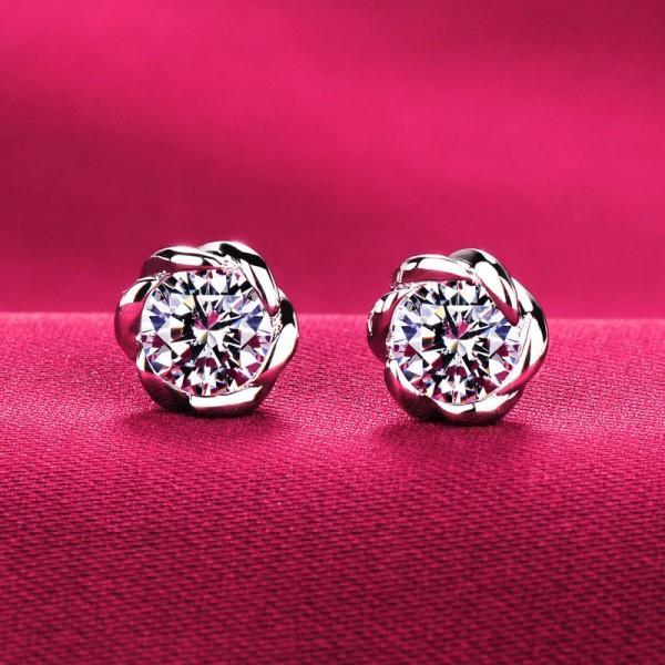 Flower Shape 0.5 Carat Original Design ESCVD Diamonds Women Earrings
