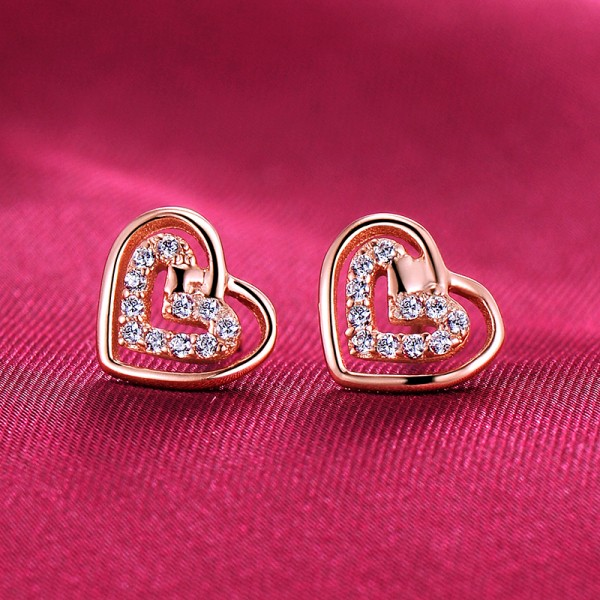 Heart Shape Rose Gold Color ESCVD Diamonds Fashionable Women Earrings